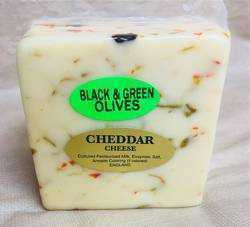 Black and Green Olive Cheddar 1 lb.